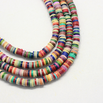 Eco-Friendly Handmade Polymer Clay Beads, Disc/Flat Round, Heishi Beads, Mixed Color, 5x1mm, Hole: 2mm; about 380~400pcs/strand, 17.7 inches