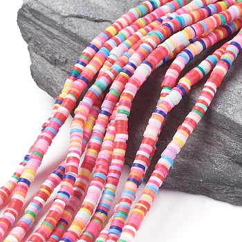 Eco-Friendly Handmade Polymer Clay Beads, for DIY Jewelry Crafts Supplies, Disc/Flat Round, Heishi Beads, Mixed Color, 4x1mm, Hole: 1mm; about 380~400pcs/strand, 17.7 inches