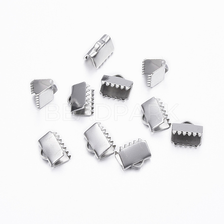 304 Stainless Steel Ribbon Crimp EndsX-STAS-H376-120-1