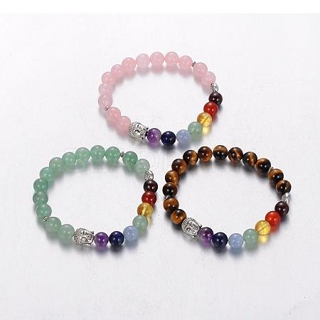 Stretch Buddhist Jewelry Multi-Color Gemstone Chakra BraceletsBJEW-JB01687-1