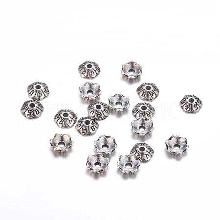 6-Petal Tibetan Style Alloy Flower Bead CapsTIBE-S220-AS-RS-1