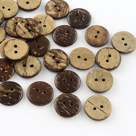 2-Hole Flat Round Coconut ButtonsBUTT-R035-004-1