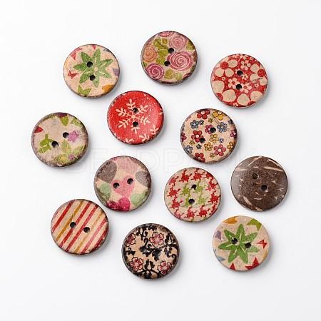 Flat Round 2-Hole Coconut ButtonsBUTT-D049-16-1