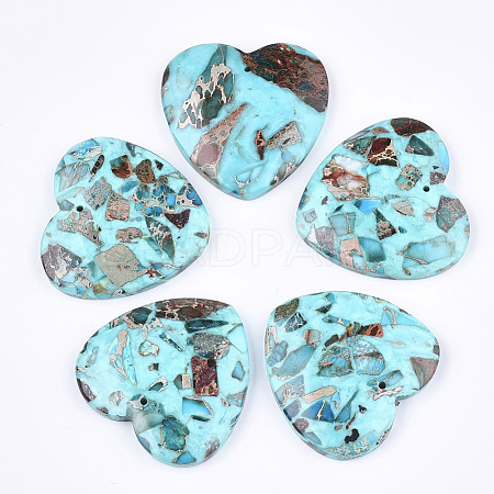 Assembled Synthetic Regalite/Imperial Jasper/Sea Sediment Jasper and Turquoise Pendants G-S329-071A-1