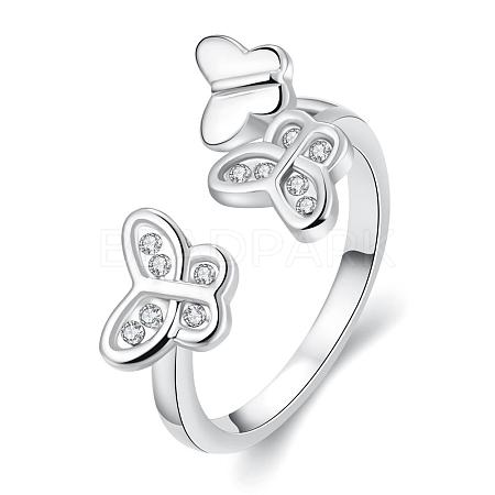 Exquisite Brass Czech Rhinestone Butterfly Cuff RingsRJEW-BB02118-6B-1