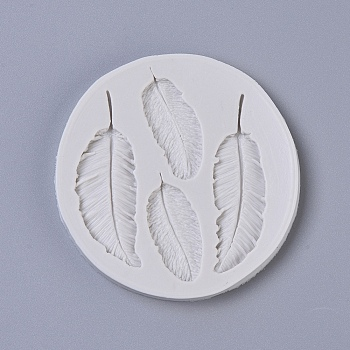 Food Grade Silicone Molds, Fondant Molds, For DIY Cake Decoration, Chocolate, Candy, Soap, UV Resin & Epoxy Resin Jewelry Making, Feather, LightGrey, 82x7.5mm; Feather: 37.5~62x17~21mm