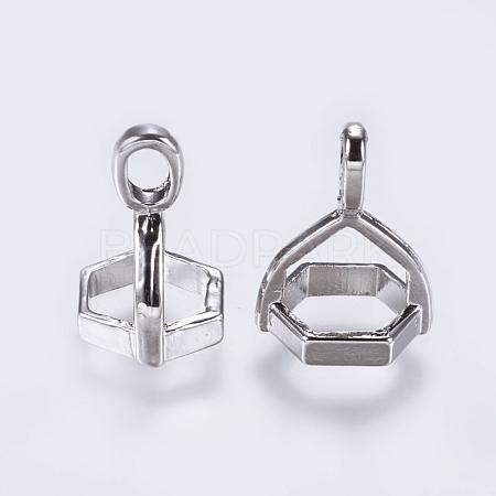 Brass Pendant Hexagon Bead Cap BailsX-KK-K205-01P-1