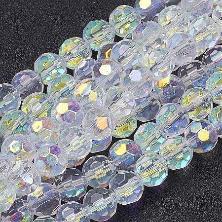 Handmade Glass Faceted Round BeadsX-GF8mmC28-AB-1