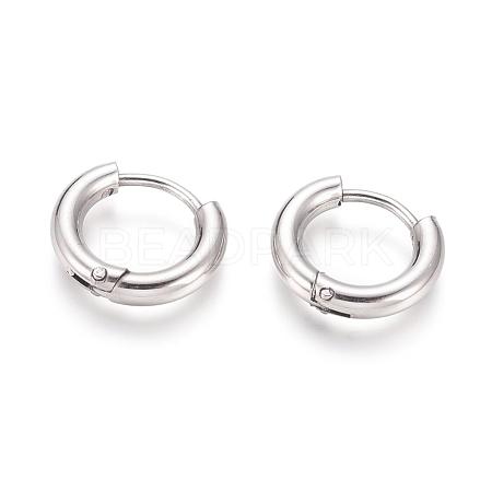 304 Stainless Steel Huggie Hoop EarringsX-EJEW-F111B-13mm-P-1