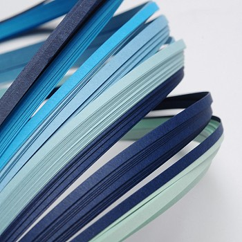 6 Colors Quilling Paper Strips, Gradual Blue, 390x3mm; about 120strips/bag, 20strips/color