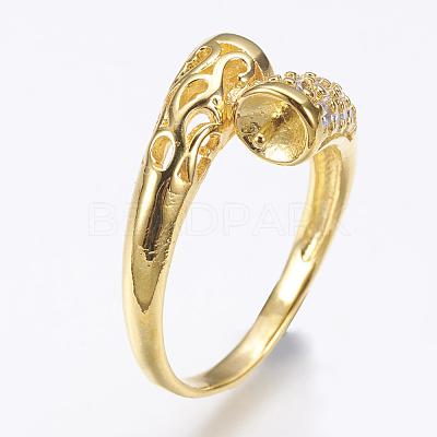 Environmental Brass Finger Ring ComponentsKK-F734-05G-NR-1