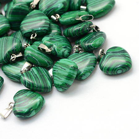 Heart Dyed Synthetic Malachite Pendants X-G-Q371-02-1