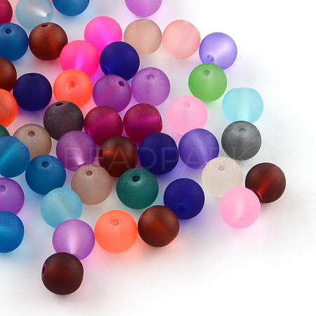 Transparent Frosted Glass Beads FGLA-R001-4mm-M-1