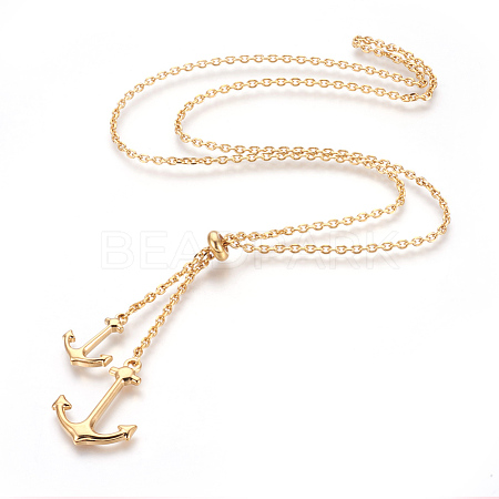 304 Stainless Steel Lariat NecklacesNJEW-O107-05G-1