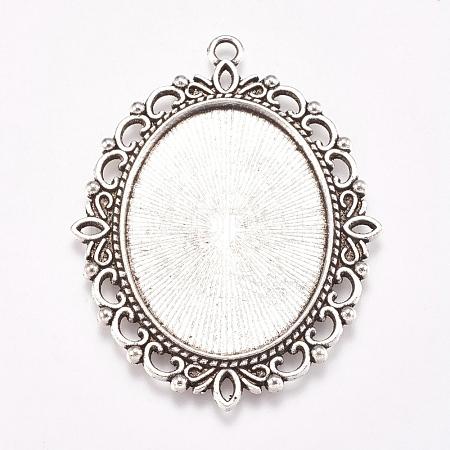 Antique Silver Tone Tibetan Style Oval Pendant Cabochon SettingsX-TIBE-473-AS-NR-1