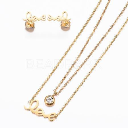 304 Stainless Steel Jewelry SetsSJEW-H095-18G-1