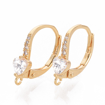 Brass Cubic Zirconia Leverback Earring Findings, with Loop, Real Gold Plated, Clear, 16x11.5x4mm, Hole: 1mm; Pin: 0.6mm