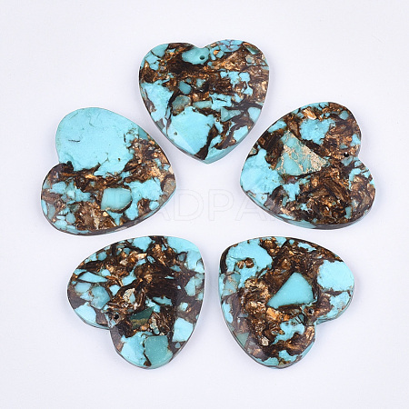 Assembled Natural Bronzite and Synthetic Turquoise PendantsG-S329-070-1