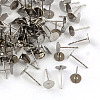 316 Surgical Stainless Steel Flat Round Blank Peg Stud Earring SettingsX-STAS-R073-02-1