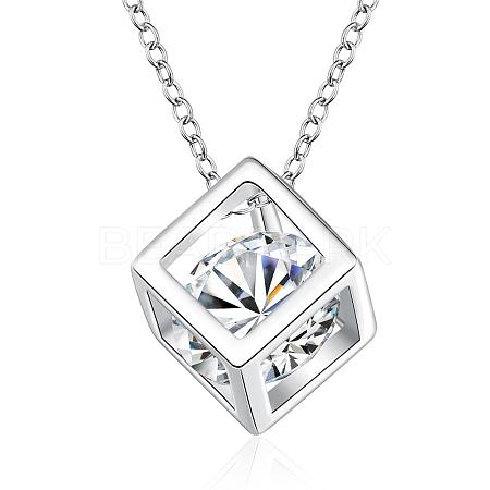 Silver Plated Brass Cubic Zirconia Cube Pendant NecklaceNJEW-BB00455-1
