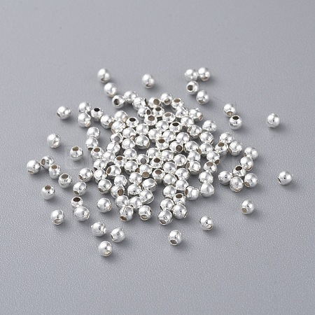 Silver Color Plated Round Iron Spacer BeadsX-E004-S-1