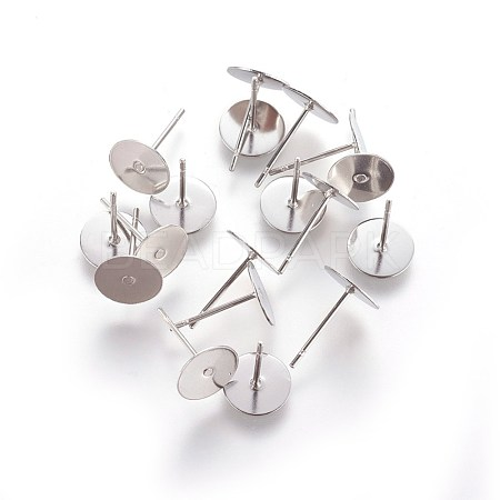 304 Stainless Steel Flat Round Blank Peg & Post Ear Studs Findings X-STAS-E025-3-1