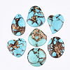 Assembled Natural Bronzite and Synthetic Turquoise PendantsG-S329-033-1