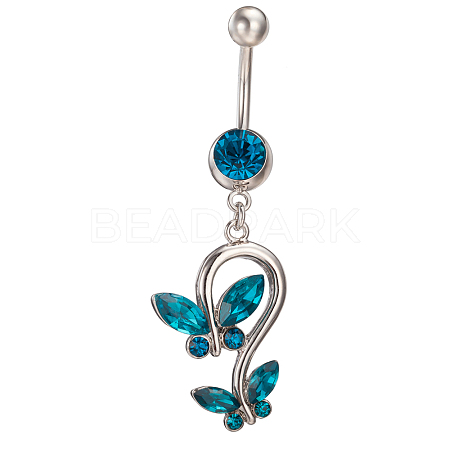 Piercing Jewelry Real Platinum Plated Brass Rhinestone Double Butterfly Navel Ring Belly RingsAJEW-EE0001-41B-1