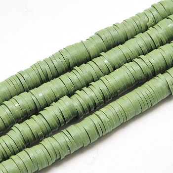 Flat Round Eco-Friendly Handmade Polymer Clay Beads, Disc Heishi Beads for Hawaiian Earring Bracelet Necklace Jewelry Making, Olive Drab, 6x1mm, Hole: 2mm; about 380~400pcs/strand, 17.7 inches