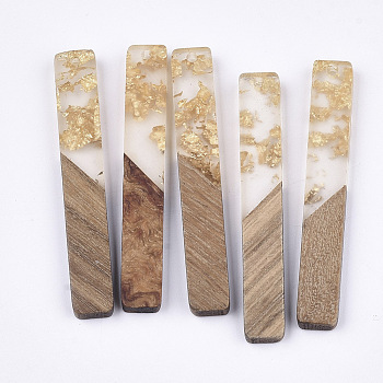 Resin & Wood Big Pendants, with Gold Foil, Rectangle, Gold, 51.5x7.5x3mm, Hole: 1.8mm