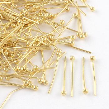 Brass Ball Head Pins, Golden, 30x0.5mm, Head: 2mm