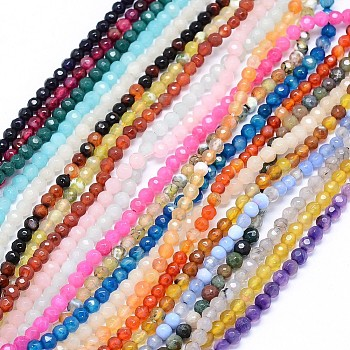 Faceted Natural Agate Beads Strands, Round, Mixed Color, 4mm, Hole: 1.2mm; about 97pcs/strand, 15