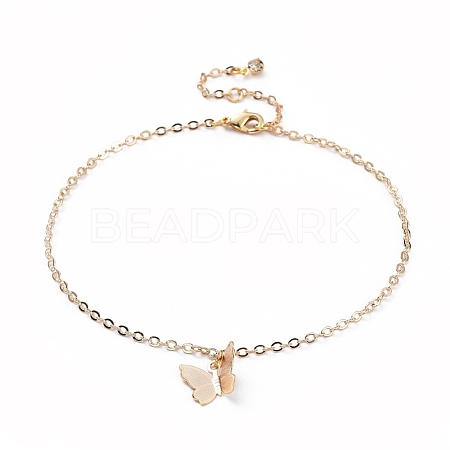 Brass Butterfly Charm AnkletsX-AJEW-AN00281-01-1