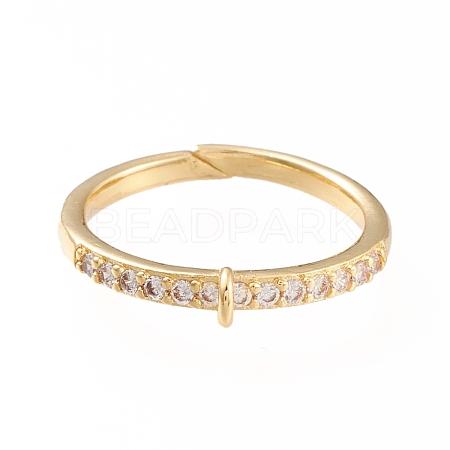 Brass Cuff Finger Ring SettingsX-KK-L155-34G-1