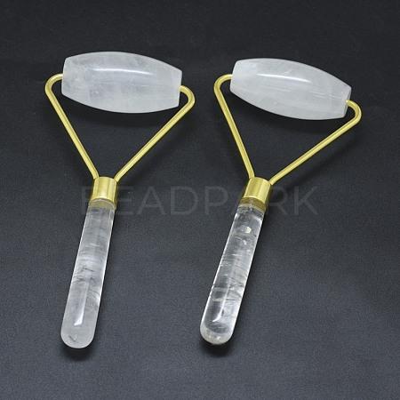 Natural Quartz Crystal Brass Face MassagerMRMJ-G010-15-1