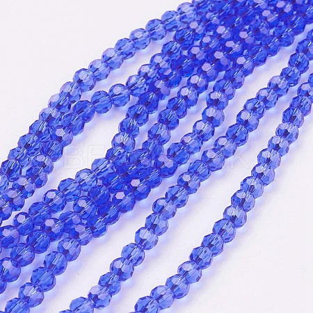 Faceted Round Glass Beads StrandsX-EGLA-J042-4mm-02-1