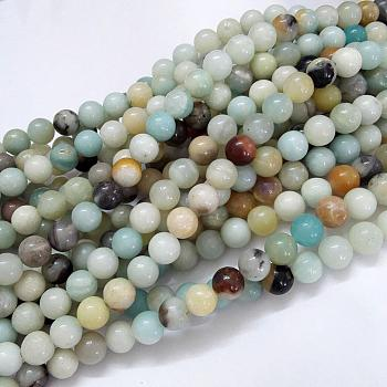 Natural Amazonite Beads Strands, Round, 8mm, Hole: 1mm; about 47pcs/strand, 15.5''(39.5cm)