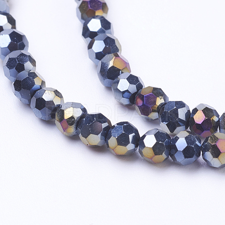 Faceted Round AB Color Electroplate Glass Beads Strands X-EGLA-J042-4mm-AB01-1