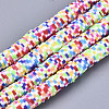 Rainbow Color Handmade Polymer Clay Beads StrandsX-CLAY-R091-6mm-02-1