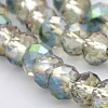 Half Rainbow Plated Faceted Rondelle Electroplate Glass Beads StrandsGLAA-A024D-HR01-1