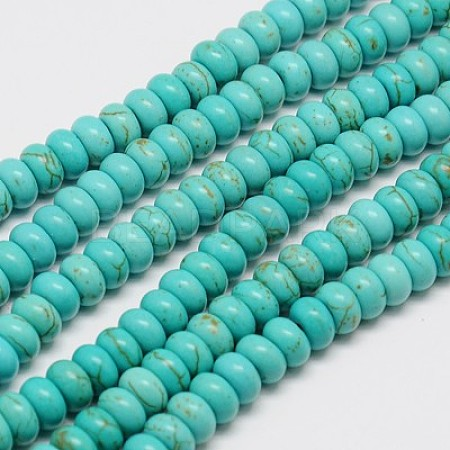 1 Strand Synthetic Turquoise Rondelle Beads StrandsX-TURQ-G109-6x4mm-06-1
