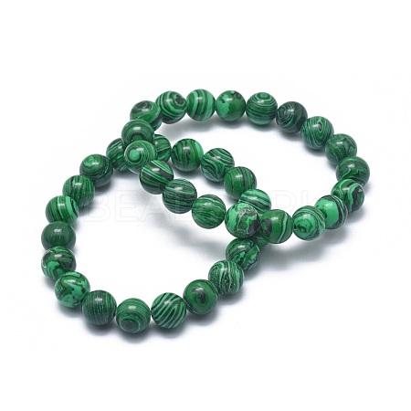 Synthetic Malachite Bead Stretch BraceletsBJEW-K212-B-031-1