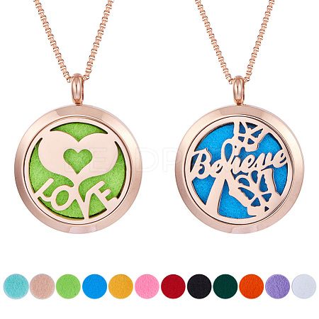 SUNNYCLUE® 304 Stainless Steel Pendant Necklaces NJEW-SC0001-01RG-1
