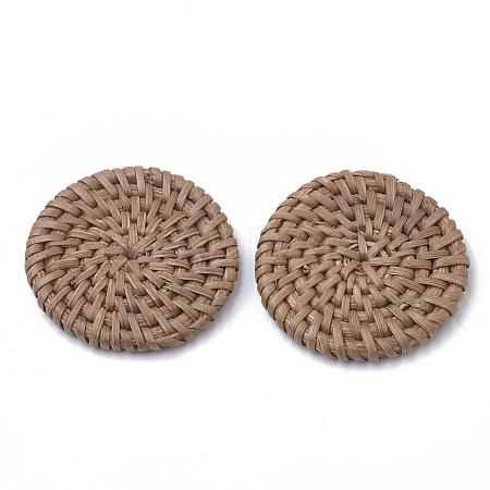 Handmade Reed Cane/Rattan Woven BeadsX-WOVE-Q075-04-1