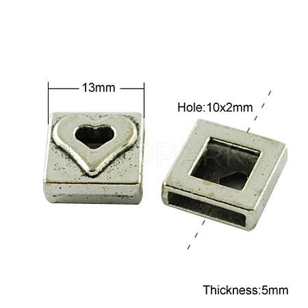 Square Tibetan Style Slide Charms Fit Pet Dog Cat Tag Collar Wristband X-TIBE-A124702-AS-FF-1