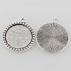 Tibetan Style Antique Silver Alloy Flat Round Pendant Cabochon SettingsX-TIBEP-M022-38AS-2