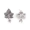 Brass Micro Pave Cubic Zirconia Stud Earring SettingsKK-O109-19P-2