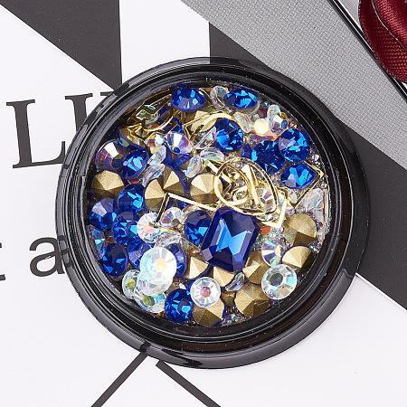Glass Rhinestone & Brass Cabochons & Undrilled Micro BeadsMRMJ-S015-003G-1