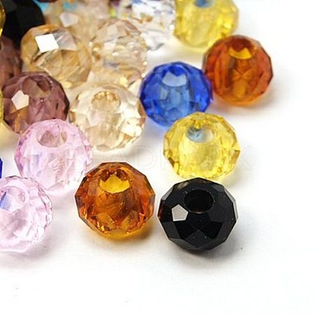 Mixed Faceted Transparent Glass Rondelle BeadsX-GLAA-S102-M-1