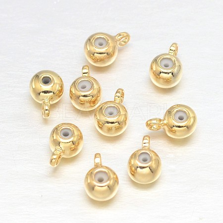 Flat Round Real Gold Plating Brass Charms X-KK-L147-120-NR-1